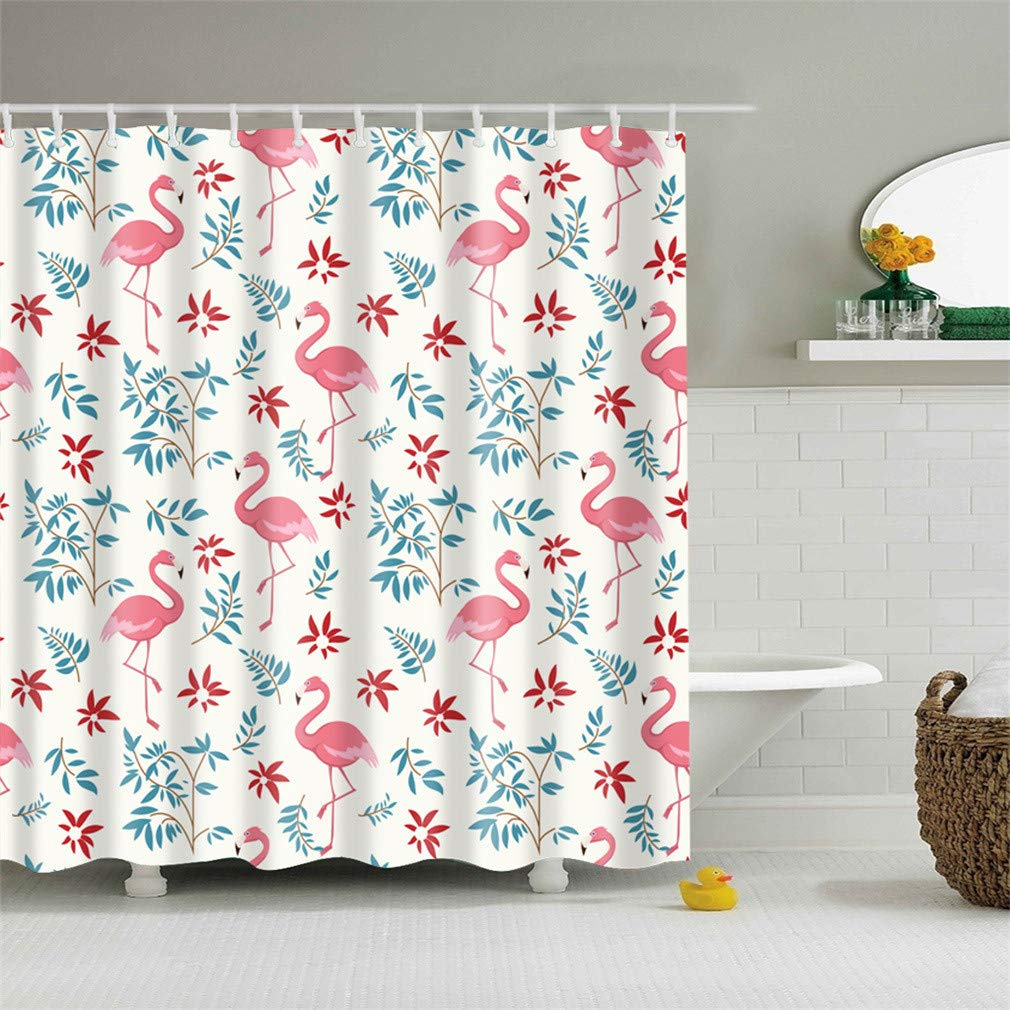 ZhongTian Decorative Cute Flamingo Theme Easy Care Fabric Shower Curtain with Plastic Hooks Bathroom Curtain 72x72inch Picture F
