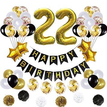 Amazon.com: 22 globos de decoración de cumpleaños, póster de ...