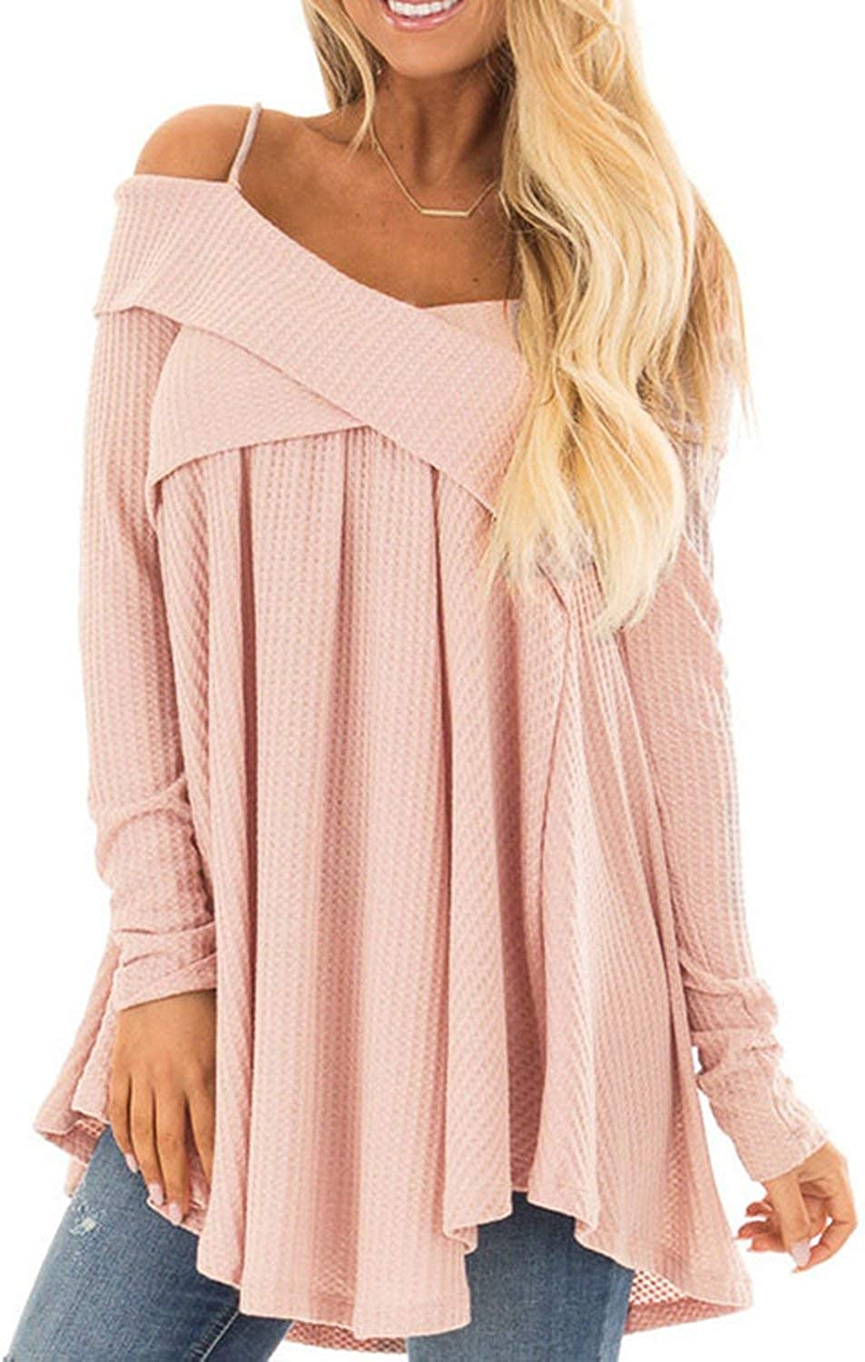 Cold Shoulder Crisscross Tunic Sweater Casual Spaghetti Strap Long Sleeve Pullover