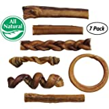 Bully Stick Variety Pack For Dogs   Best Mix of Natural Low-odor Beef Stix   Pizzle Dental Treat Chews: Straight, Braided, Ring, Spring, Barbell, Pretzel, etc.