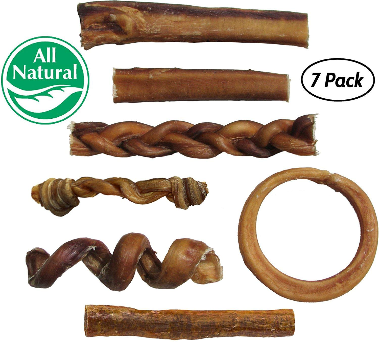 Bully Stick Variety Pack - Includes 7 Different Thick Low-Odor Bully Sticks for Dogs, Best Beef Pizzle Stix Dog Treats, Natural Dental Dog Chews: Straight, Braided, Ring, Spring, More