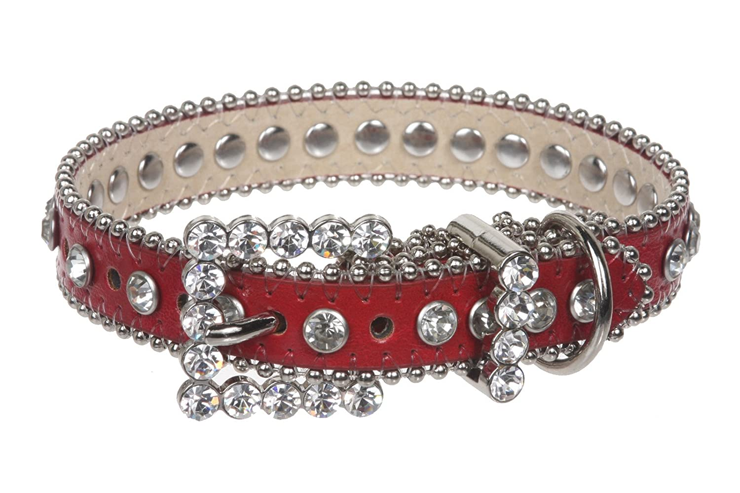 Red M  11\ Red M  11\ 3 4  (20 mm) Metallic Rhinestone Dog Collar