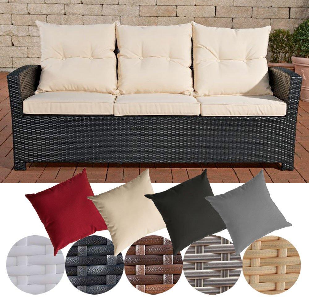 CLP Poly-Rattan 3er Sofa FISOLO, Aluminium Gestell - 100% rostfrei - inkl. Kissen & Auflagen Rattan Farbe schwarz, Bezugfarbe: Cremeweiß