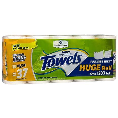 Amazon Com Member S Mark Premium Paper Towel Huge Rolls 15 Rolls