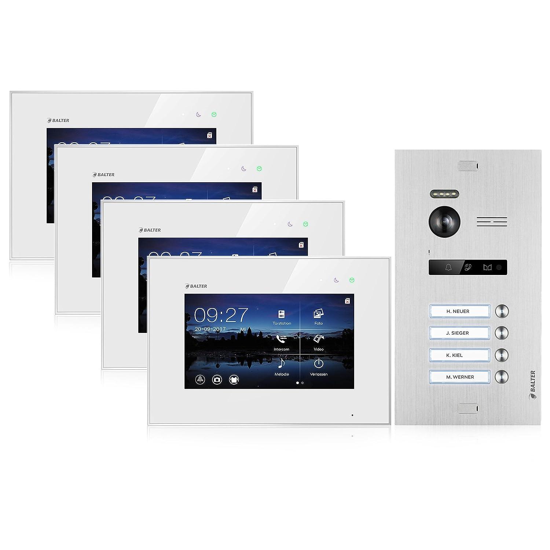 BALTER EVO Video-Türsprechanlage ✓ Touchscreen 7 Zoll Monitor ✓ Türstation für 3 Familienhaus ✓ 2-Draht BUS ✓ 150° Weitwinkel-Kamera (3 Familienhaus)