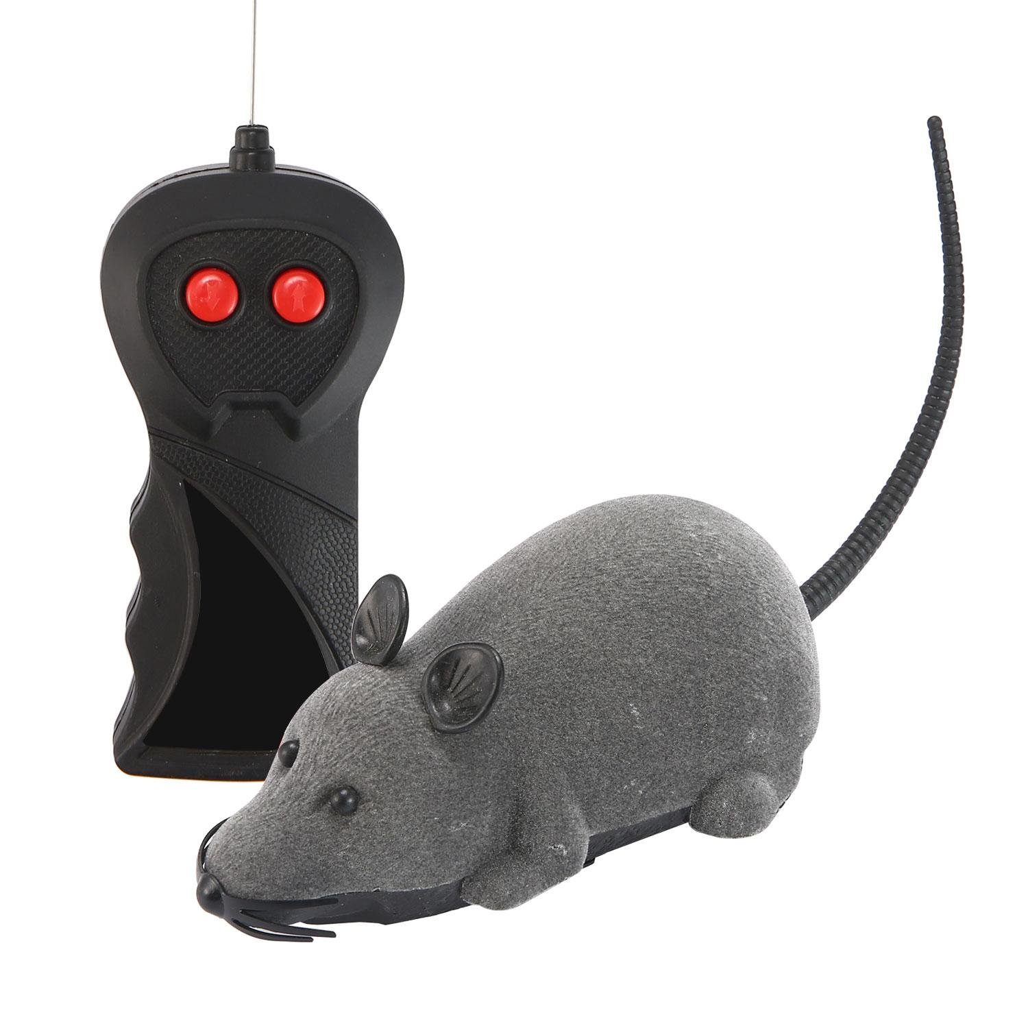 Aolvo Electric Wireless Remote Control Rat Fake Mouse Mice RC Toy Prank Joke Scary Trick Bugs for Party and for Cat Dogs Puppy Pets Kids Novelty Gift Funny Toy