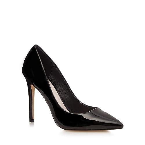 Faith Women's Black Patent Pointed Court Shoes Court Shoes Court Shoes
