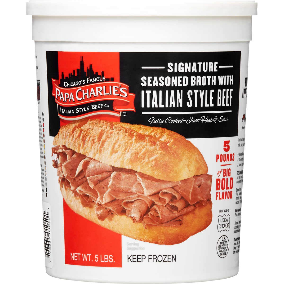 Papa Charlie's Signature Italian Style Beef in Seasoned Broth, 5 lbs
