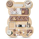 Toddler Busy Board Bear for 1 2 3 Year Old - Wooden Handmade Baby Sensory Activity Boards with Keys, Lock, Latches, Time Tell