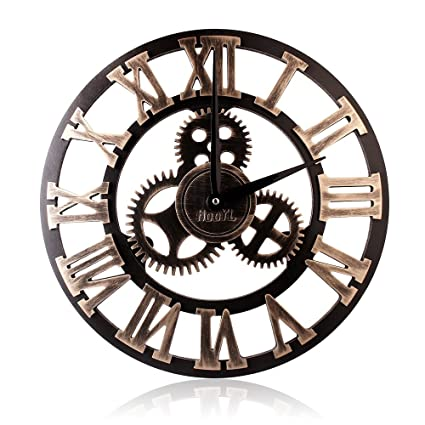 amazon de hooyl stylische wanduhr im vintage und steampunk look mit dekorativem zahnrad und