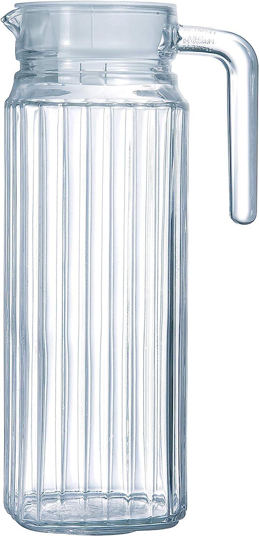 Arcoroc Quadro Jarra de Agua de Cristal con Tapa para Nevera, 1,1L, Blanco