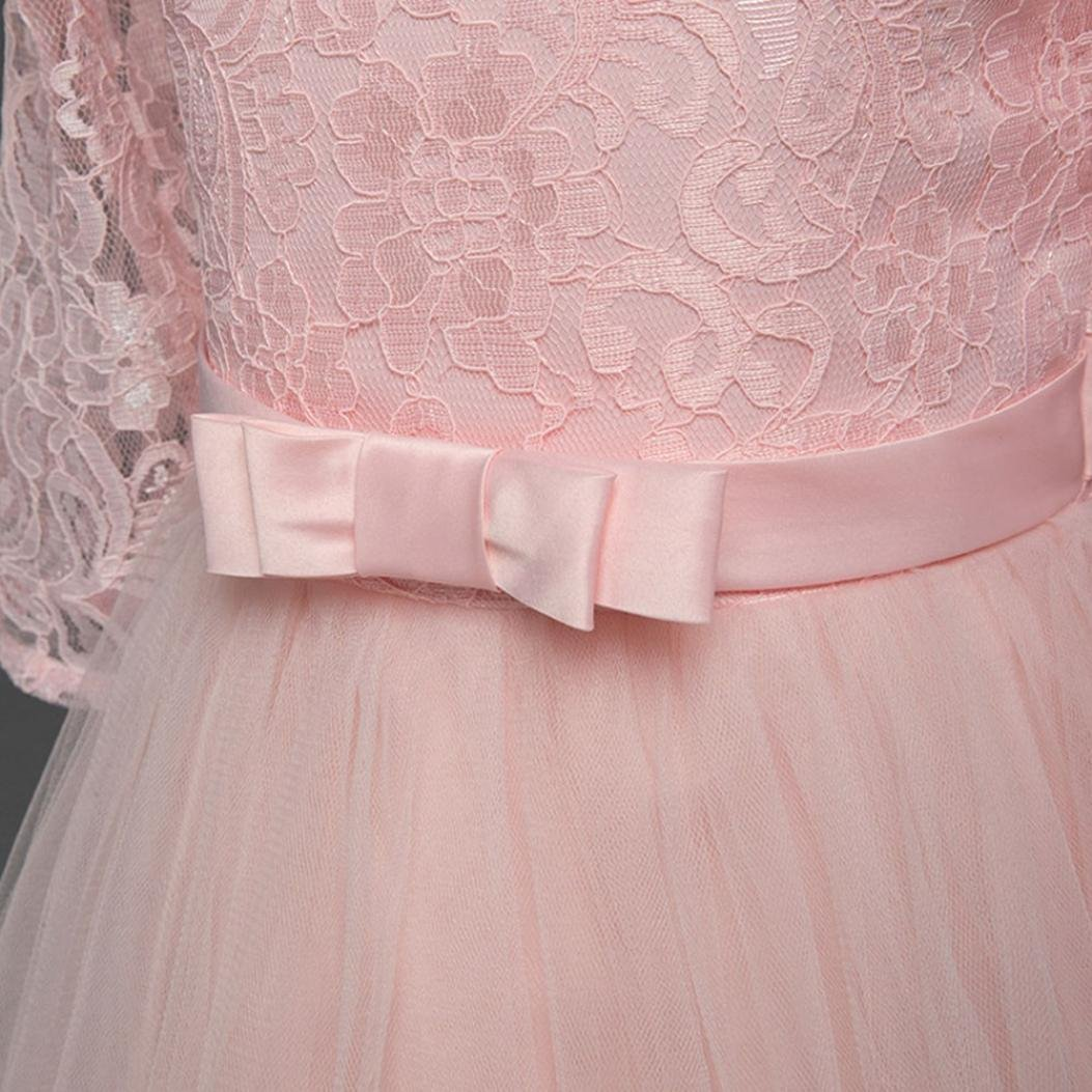 kaiCran Girls Dress Girls Half Sleeve Lace Embroidered Bows Performance Birthday Wedding Princess Dress Skirt Dress