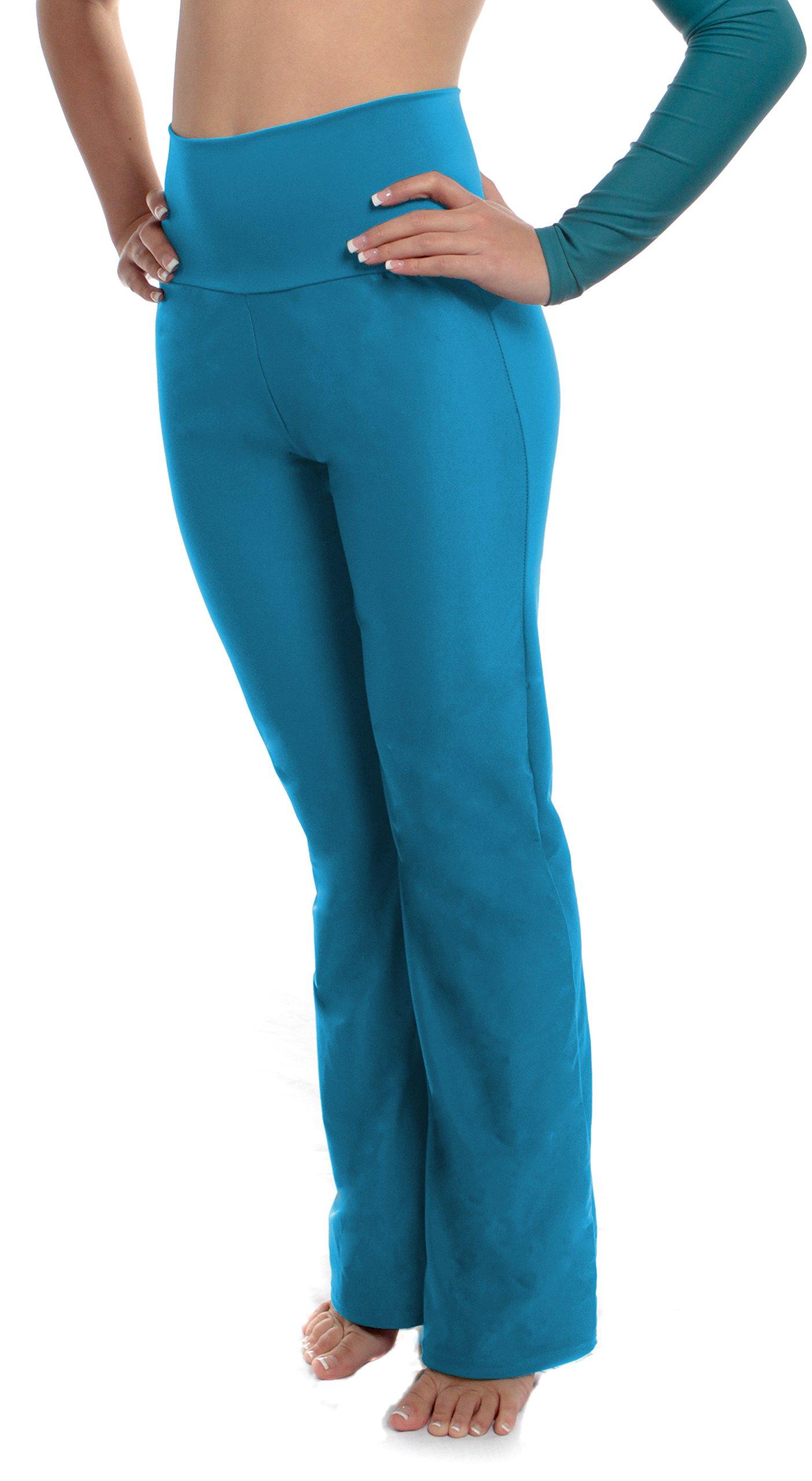 B Dancewear Girls High Waist Dance Pants Small Turquoise by Child and Kid Sizes by B Dancewear