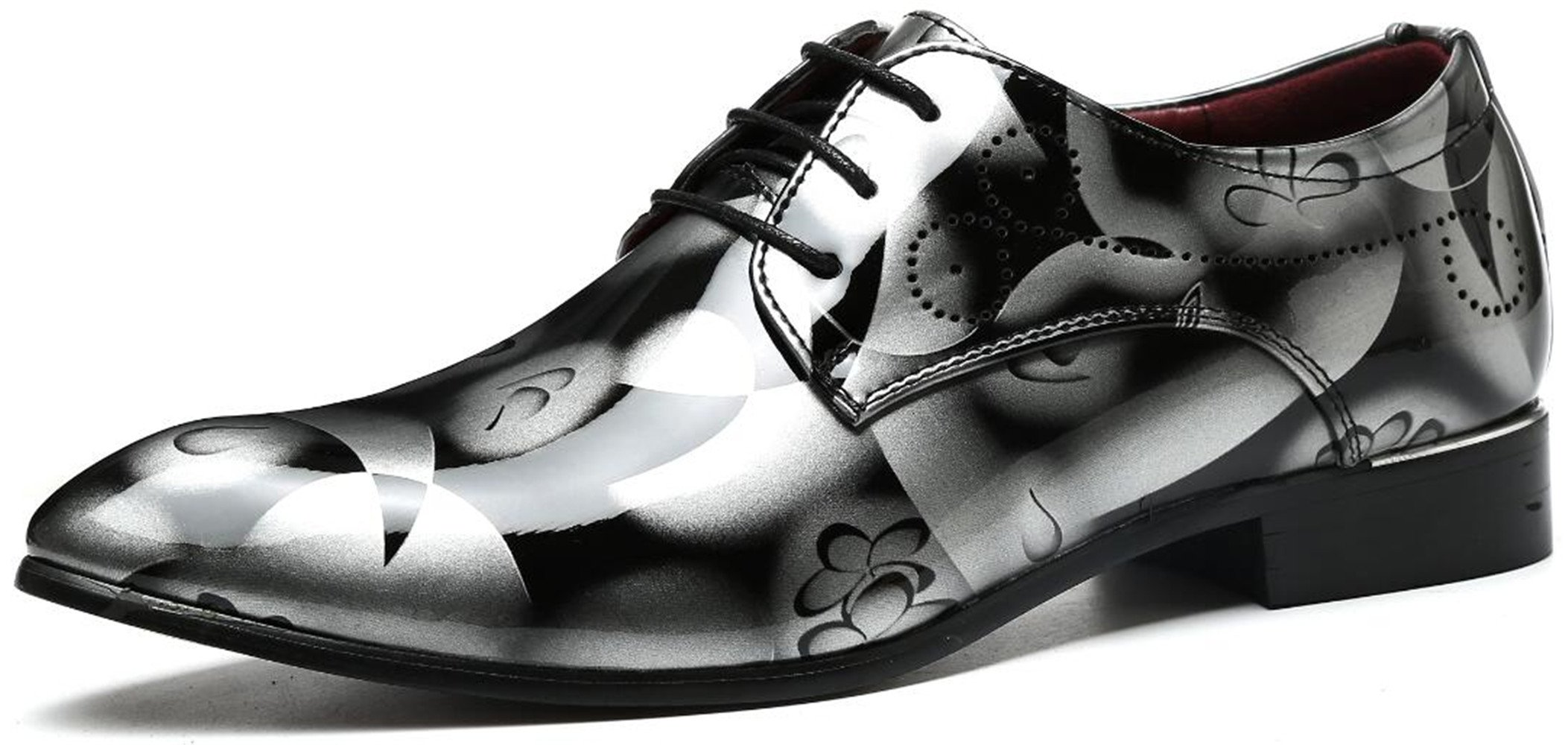 Men's Fashion Shiny Patent-Leather Shoes Tuxedo Wingtip Lace-up Oxford Shoes (8.5, Grey)
