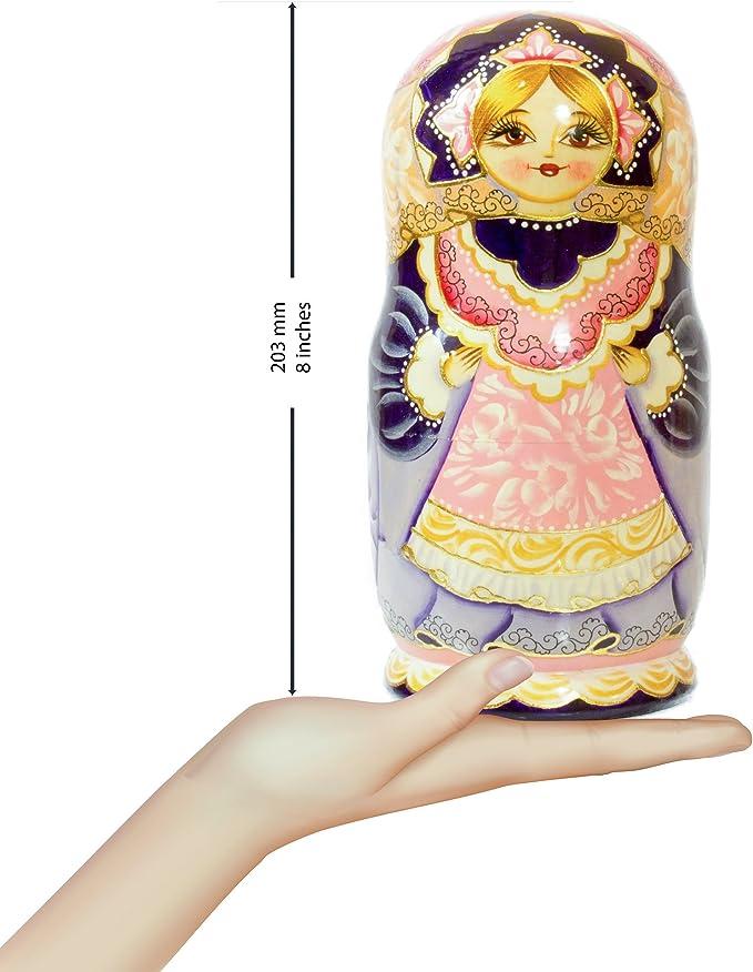 Hand Painted in Russia Nesting Doll Design E, 8.25`` 7 Dolls in 1 Matryoshka Babushka Russian Village Wooden Decoration Gift Doll Big Size