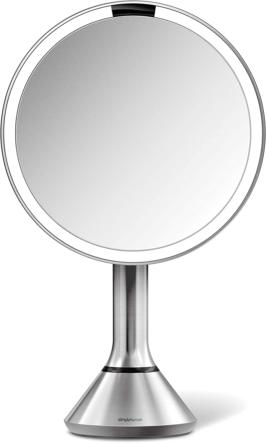 simplehuman Sensor Lighted Makeup Vanity Mirror, 8 Round with Touch-Control Brightness, 5X Magnification, Brushed Stainless Steel, Rechargeable and Cordless