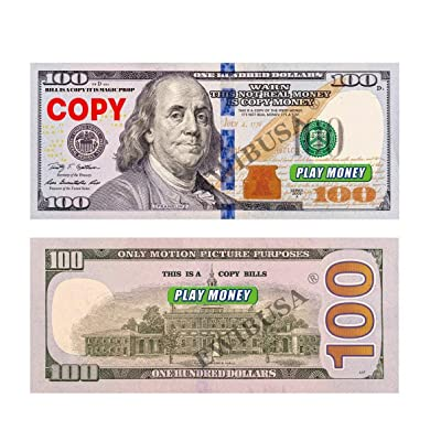 EWIBUSA Prop Money Pretend Total $10,000 Money Copy of $100X100 Pcs Double-Sided Printing - for Movie, TV, Videos Magic Stage Tools: Toys & Games