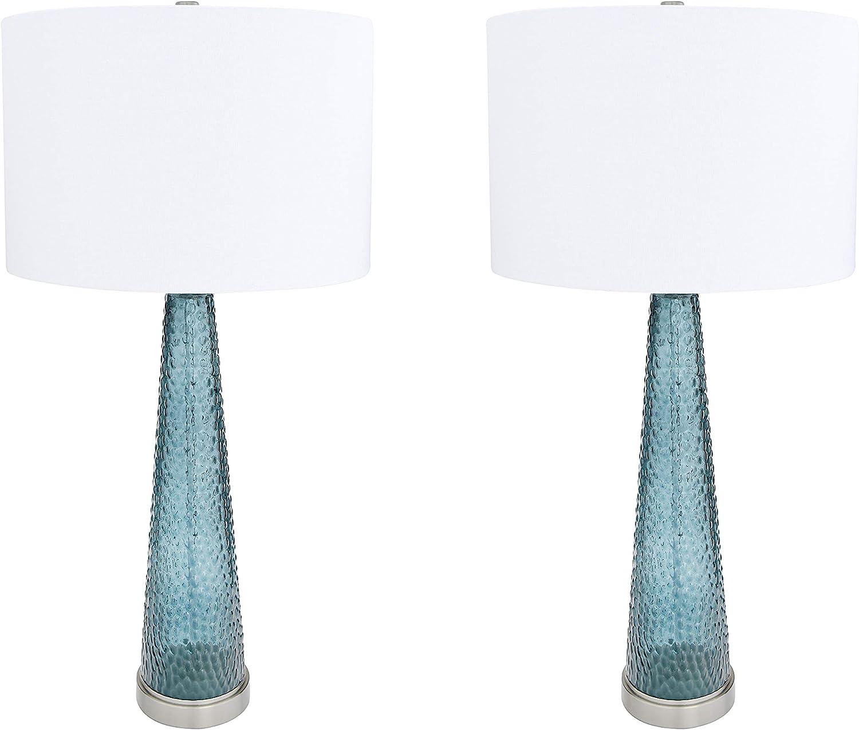 Creative Co-op Metal Base Table Transparent Bubble Roosevelt Blue Glass Lamp
