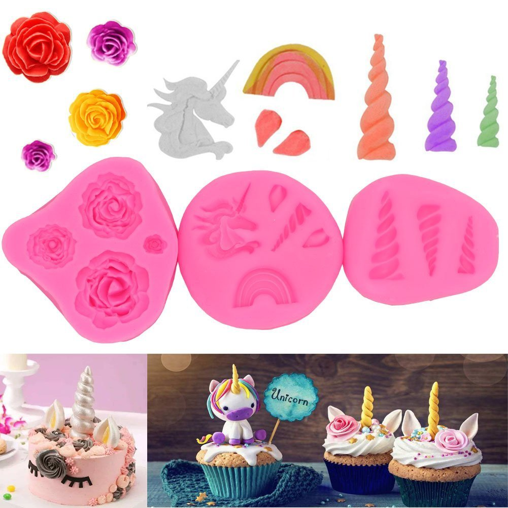 ABREOME silicona Moldes Fondant tarta, Unicorn Cuerno Ears Flower and rainbow Cup Cake Topper Fondant Chocolate Candy Sugar Craft Unicorn Cake Mold Set for ...