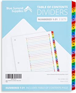 Blue Summit Supplies 31 Tab Binder Dividers for 3 Ring Binder, Day of The Month Dividers with Multicolor Numbered Tabs, Includes Customizable Table of Contents Index, 3 Sets