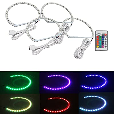 Syneticusa Multi-Color RGB LED Angel Eye Halo Rings for E39 E46 3 5 7 Series Headlight: Automotive