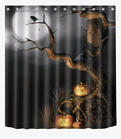 LB Spooky Night In Dark Forest Crow Evil Pumpkin Shower Curtains For Stall Halloween