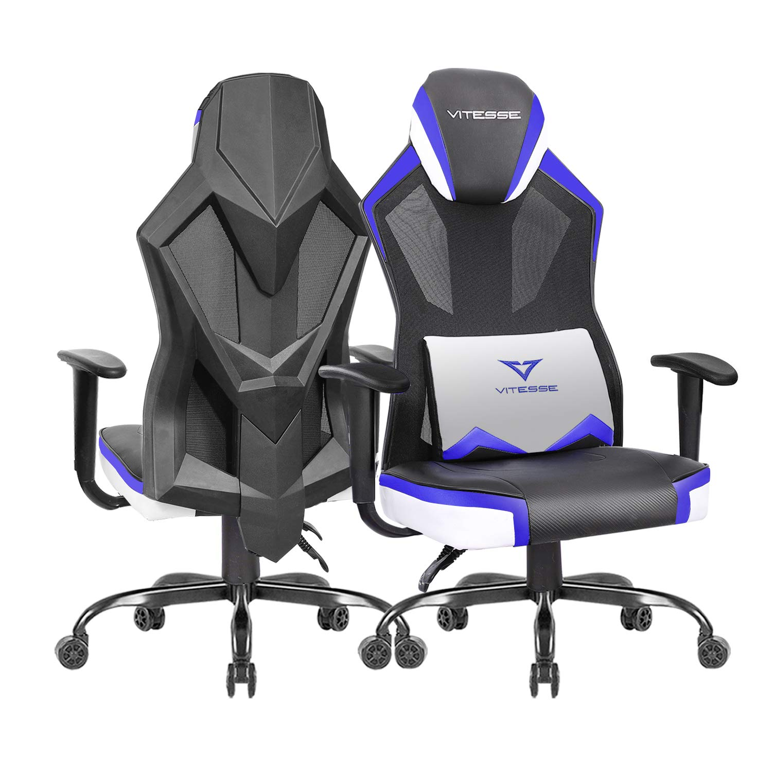 VIT Gaming Chair Racing Office Chair High Back Mesh Swivel Desk Computer Chair, Ergonomic Backrest Video Gaming Chair with Armrest and Lumbar Support Blue