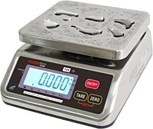 VisionTechShop TVS Portion control Stainless steel Washdown Scale, Lb/Oz/Kg/g Switchable, Low Profile Design, 30lb Capacity, 0.005lb Readability, Single Display, NTEP Legal for Trade