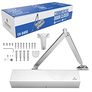 Commercial Door Closer FS-8400 - Heavy Duty Adjustable Grade 1 Standard Automatic Door Closing Hinge - ADA Compliant UL & CUL UL10C Listed - Aluminium Finish - High Traffic - Fitting Instructions