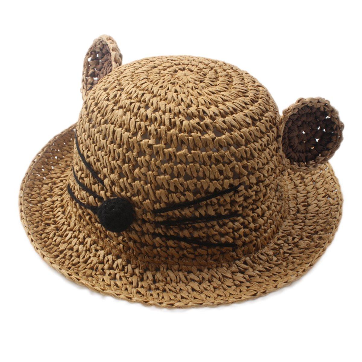 Fortunings JDS Neonati maschi Ragazze Cappello per il sole della visiera di protezione Cappello di paglia con orecchie di gatto