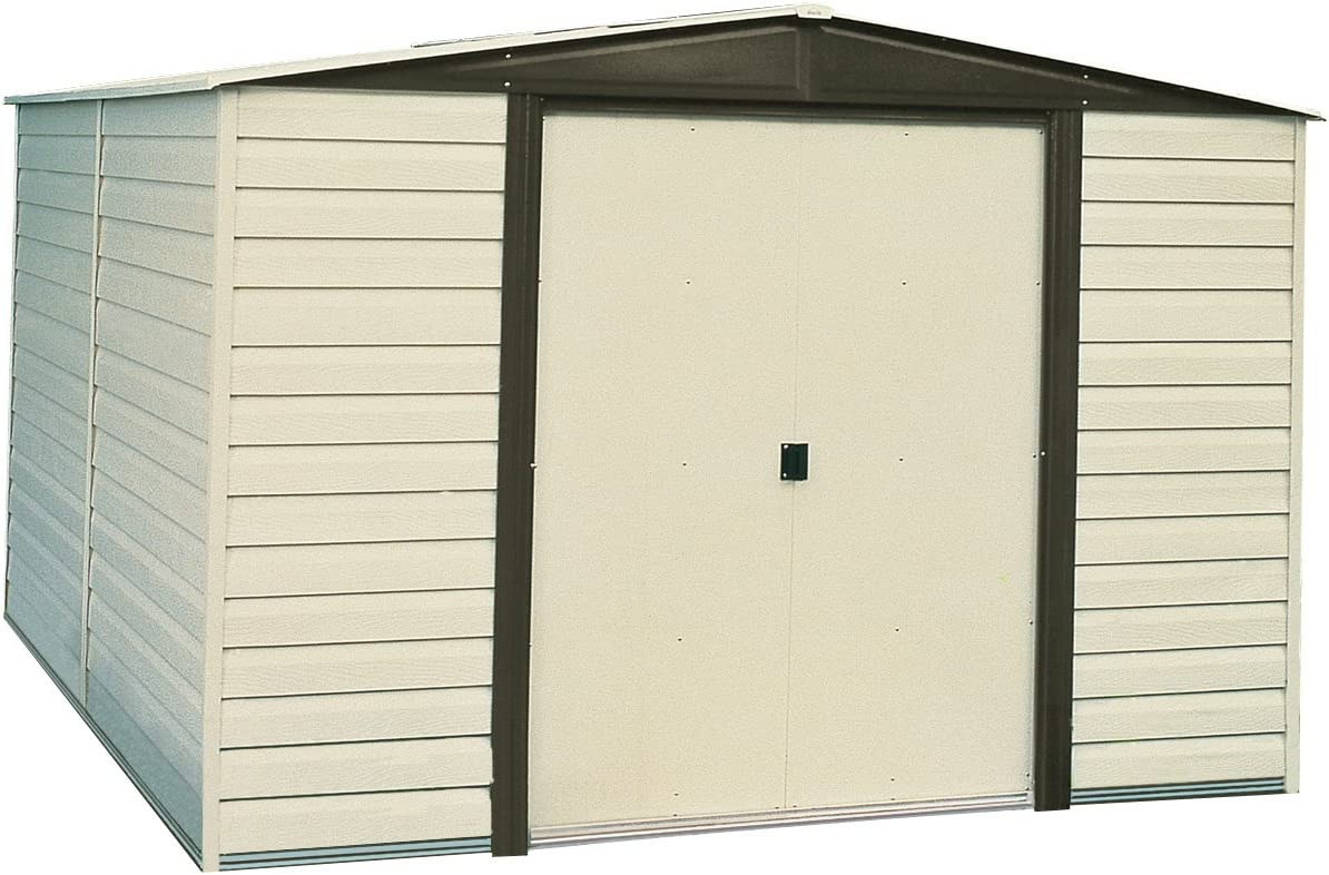 Arrow Shed flèche Lexington Haute pignons de Jardin en Acier 10 x 12 ft. Almond Walls/Roof/Doors & Coffee Gables/Trim