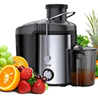 MLITER Juicer Machine Whole Fruit Juice Maker with 65mm Feed Chute 2 Speed Setting Centrifugal Power Juicer with 450ml Juice Jug and 1.5L Pulp Container 400W/Black