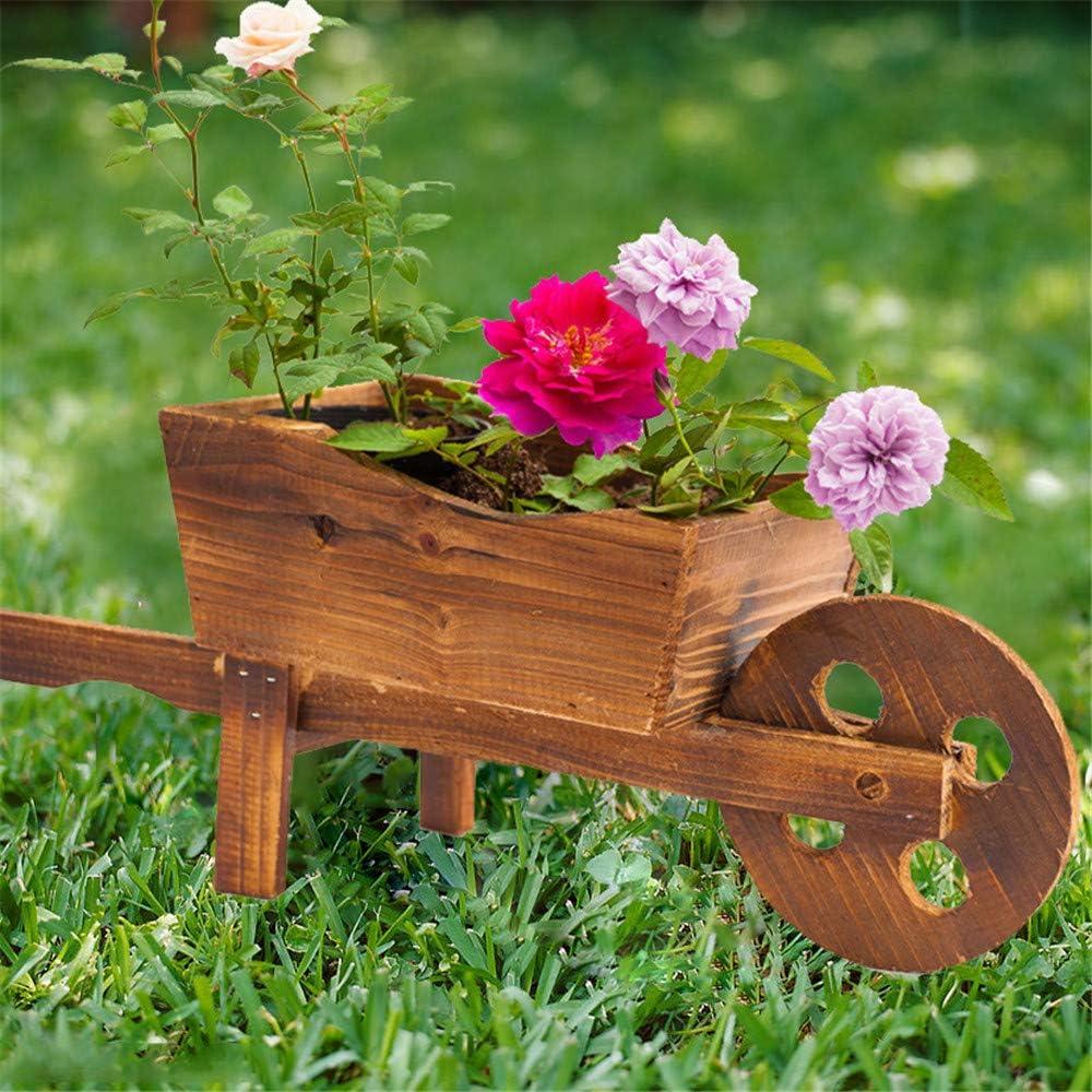 DIYARTS Plantador Carretilla Madera Multifuncional Ornamental Carro Flores Madera Ornamento Jardineras Jardín para Jardín Planta Patio Al Aire Libre: Amazon.es: Jardín