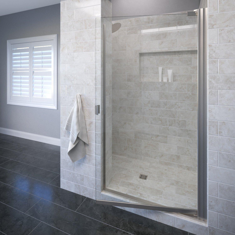 Basco Classic 31.75 to 33.25 in. width, Semi-Frameless Pivot Shower Door, AquaglideXP Clear Glass, Brushed Nickel Finish