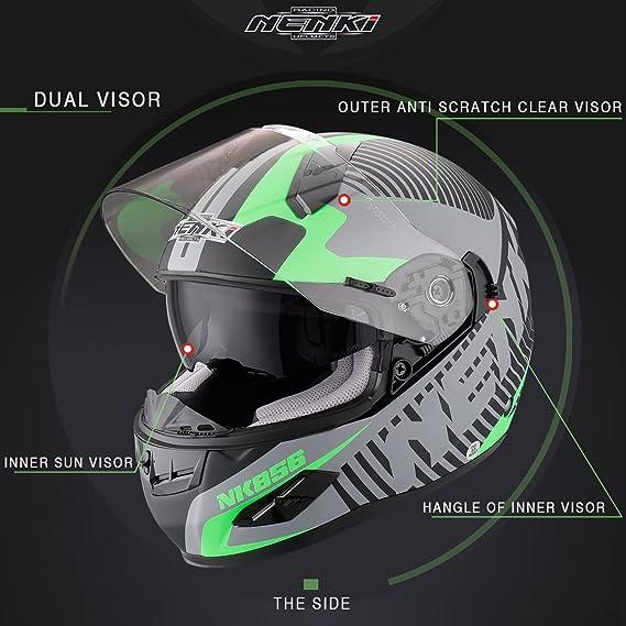 Nenki NK-856 Casco integral para motocicleta con doble visera, con certificación ECE, color Negro Mate Verde, tamaño Large: Amazon.es: Deportes y aire libre