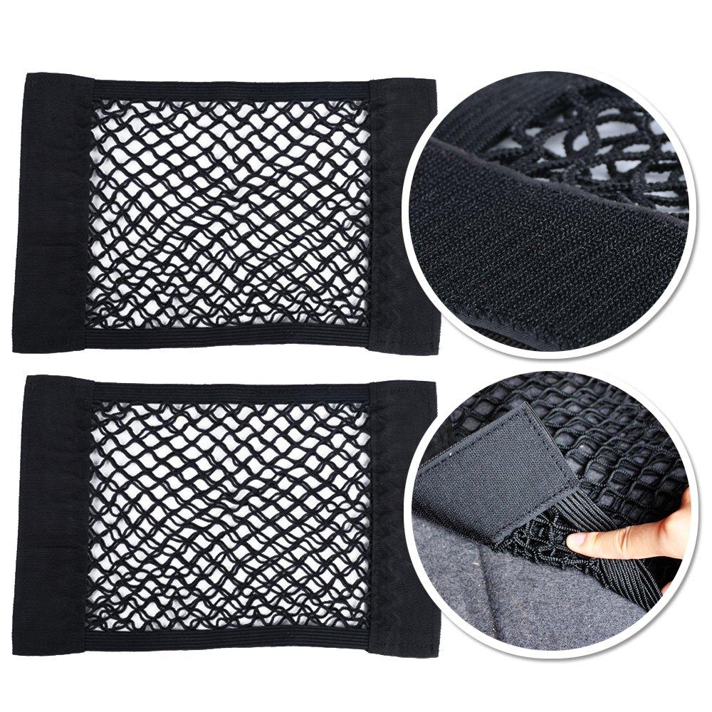 Kit da 3pz 1* Rete Ferma Bagagli Per Bagagliaio della Macchina 2* Rete Portaoggetti Tasca Oganizer con Velcro AONER