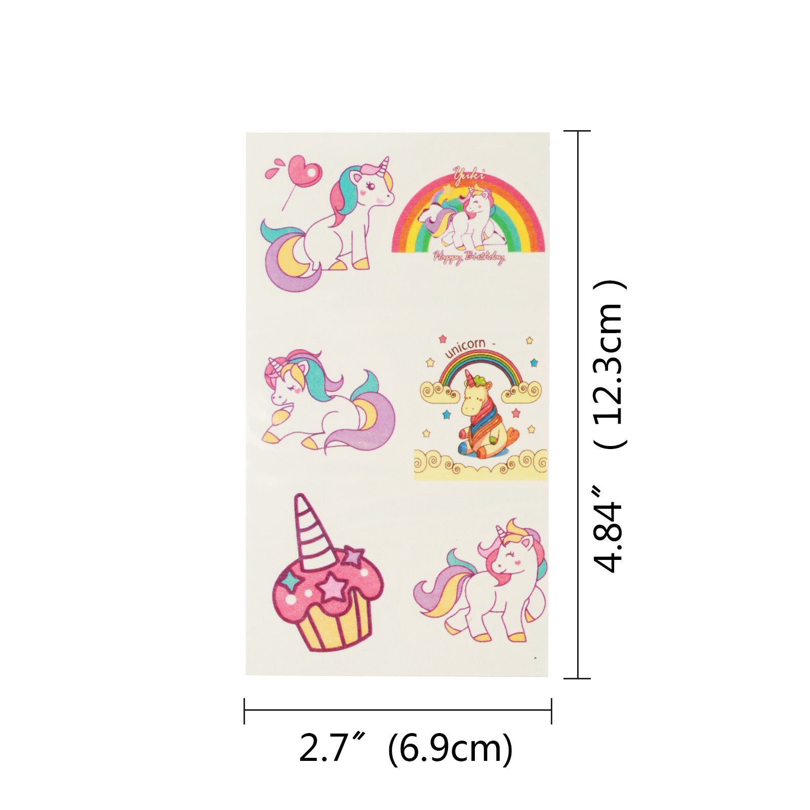 180 PCS (Pack of 30 Sheet) Unicorn Temporary Tattoos Metable Assorted Temporary Sticker for Kids Girls Boys for Birthday Party Favors Supplies Goodie Bag Fillers and Stocking Stuffers