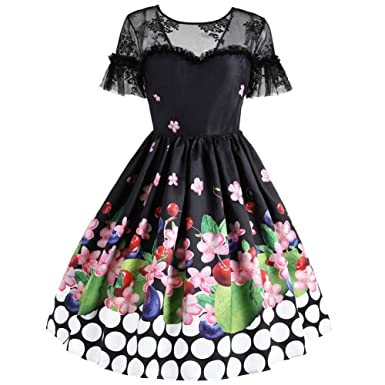 Womens Retro Elegant Lace Floral Print Short Sleeves Dancing Party Cocktail  Knee Length Dress 51a375a5482b