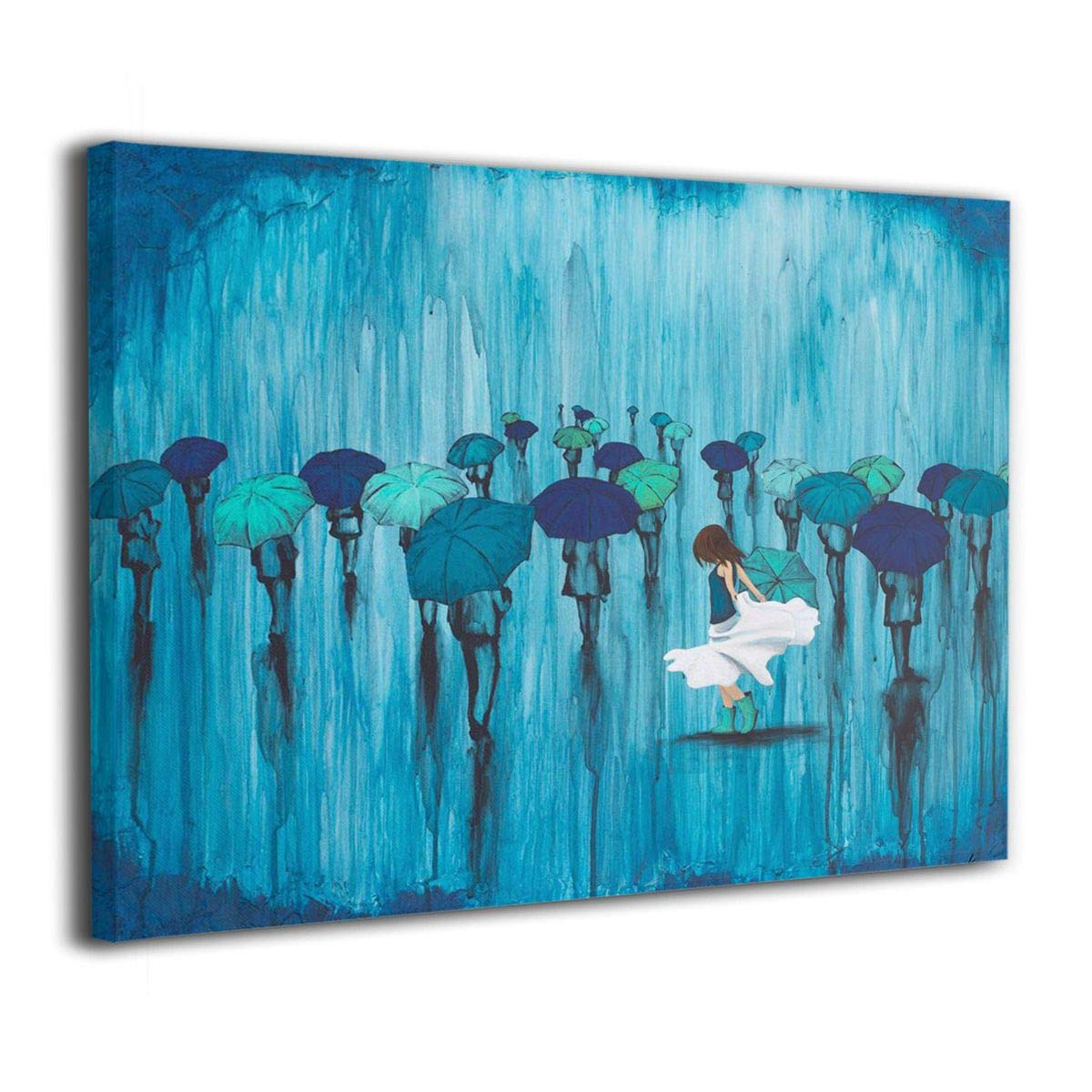 Arnold Glenn Umbrella Dance in The Rain Teal Blue Canvas Wall Art Prints Photo Contemporary Paintings Home Decoration Giclee Artwork Wood Frame Gallery Wrapped by Arnold Glenn