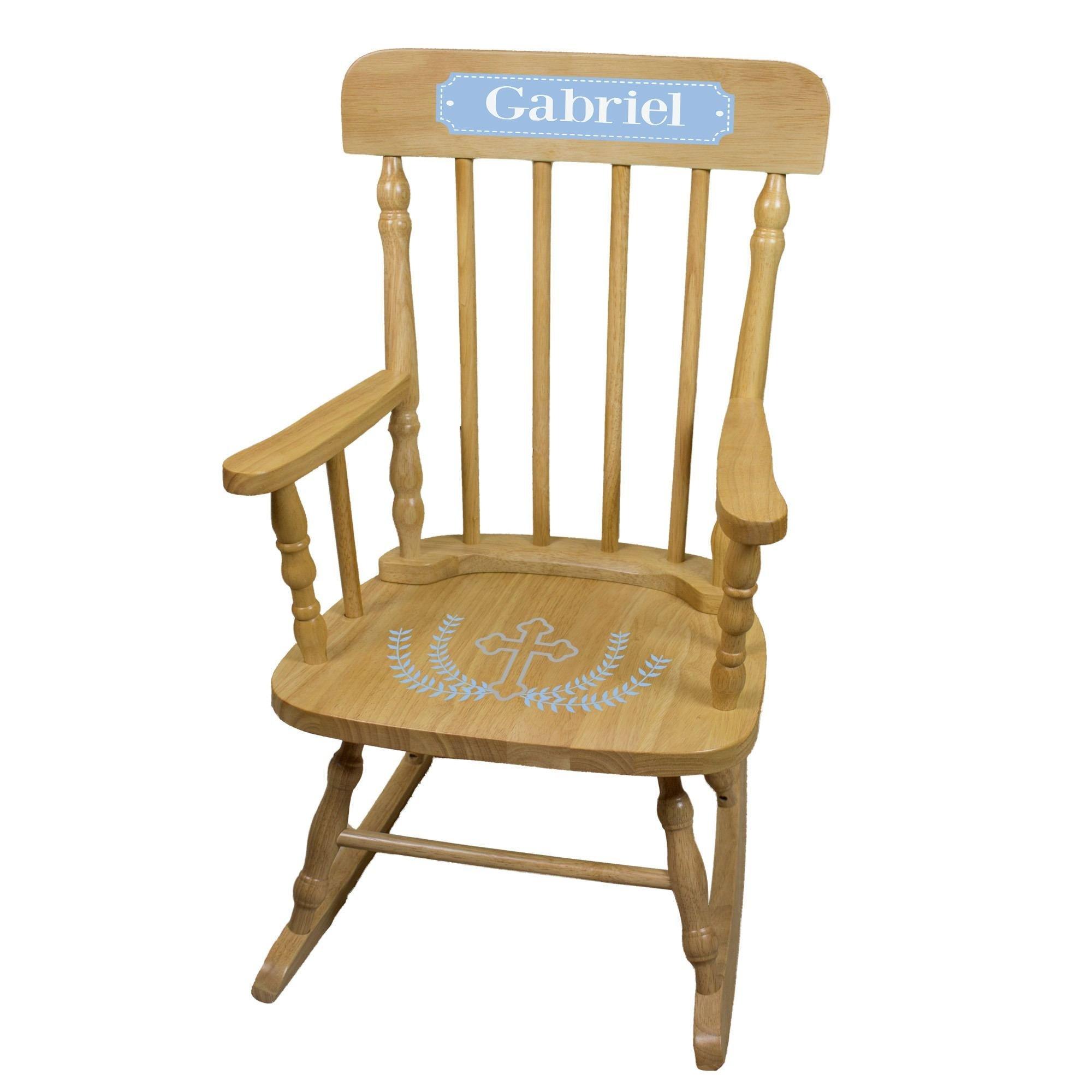 MyBambino Personalized Cross Garland Light blue Natural Wooden Childrens Rocking Chair