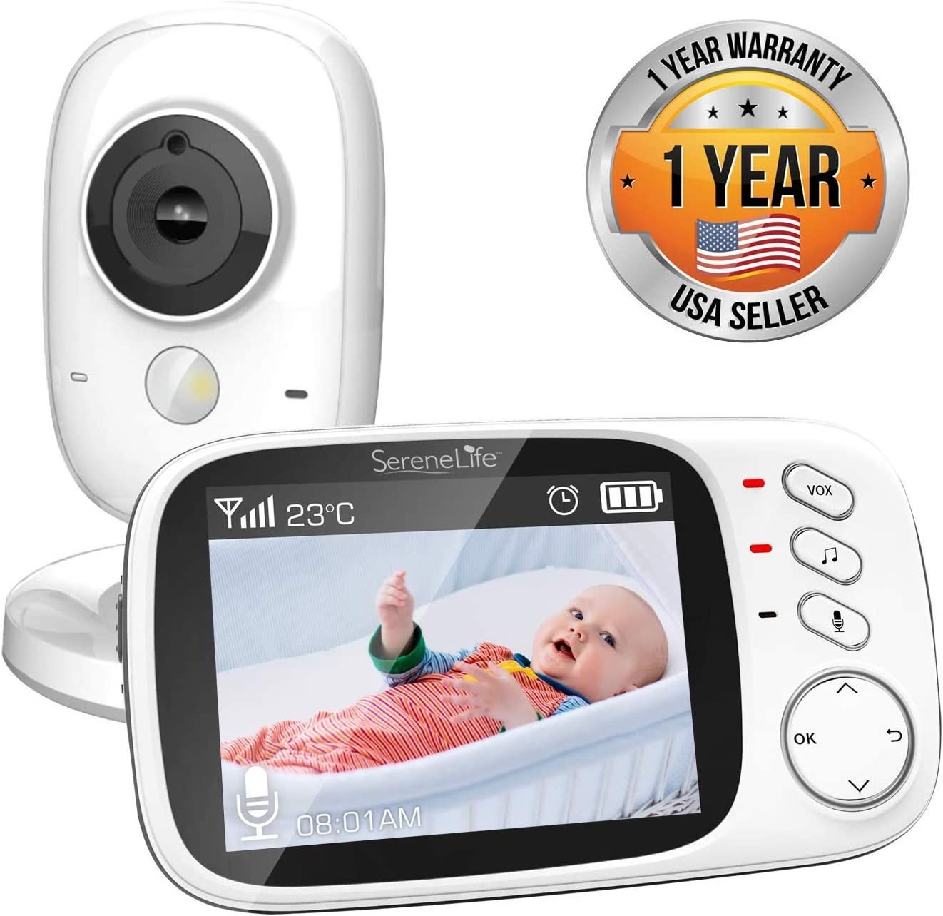 Video Baby Monitor Long Range – Upgraded 850 Wireless Range, Night Vision, Temperature Monitoring and Portable 2 Color Screen – Serenelife USA SLBCAM20