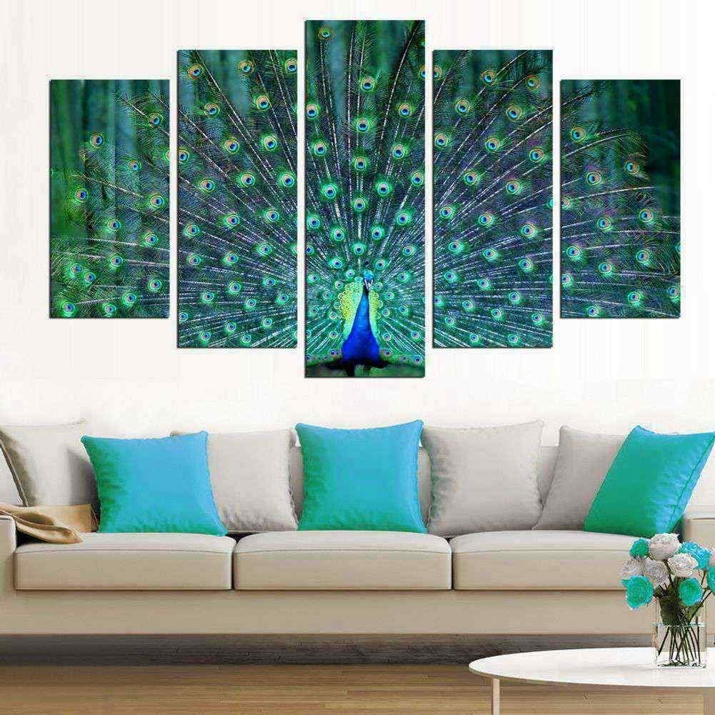 Amazon com wall art living room 5 pieces large green framed canvas painting print picture peacock spread its wings artwork ready to hang posters