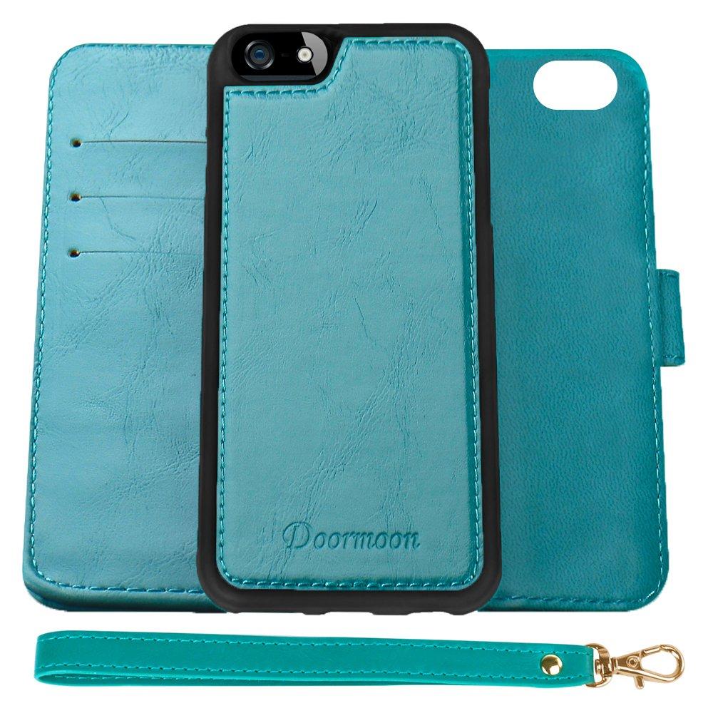 iPhone SE、iPhone 5、iPhone 5 S、取り外し可能なFolio PUレザーカバークレジットカードスロットキャッシュポケットスタンドホルダーマグネティック(ターコイズ)用Doormoonウォレットケース   B01N18QXDH