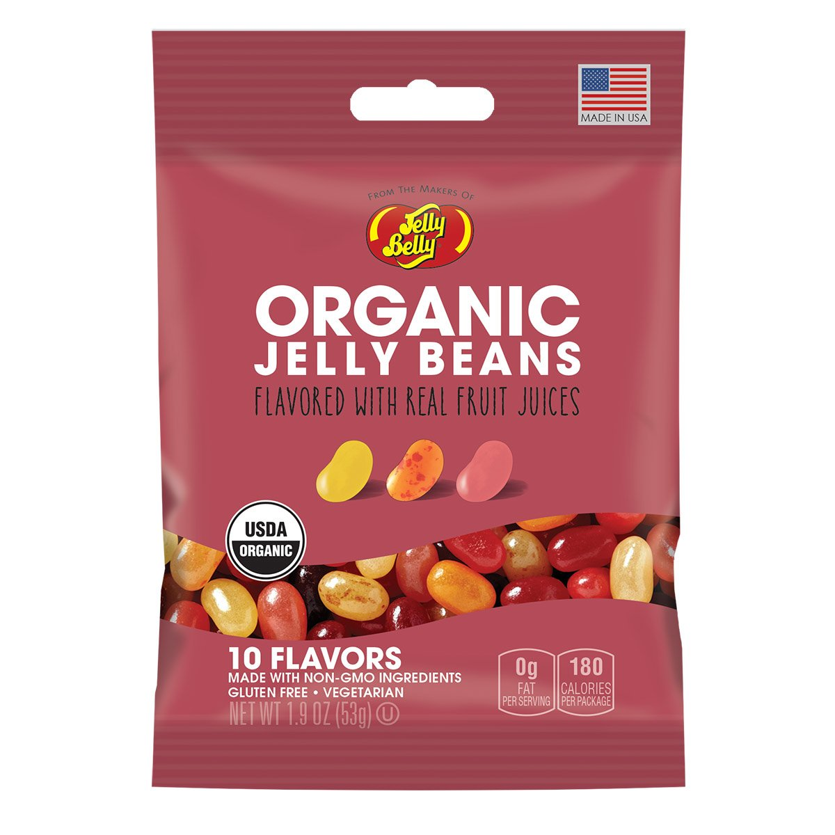 Jelly Belly Organic Jelly Beans, 10 Flavors, 1.9-oz, 12 Pack