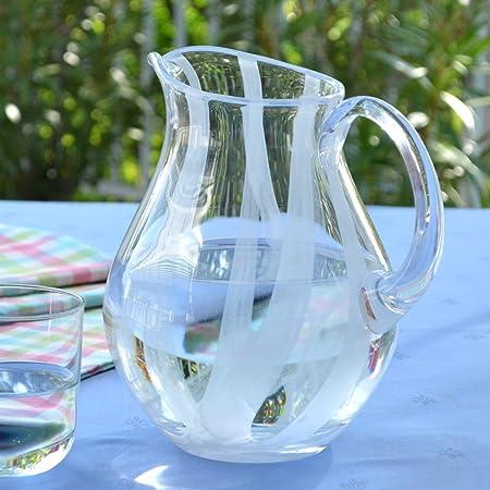 Agua Jarra nubis transparente cristal con rayas blancas, 2 litros ...