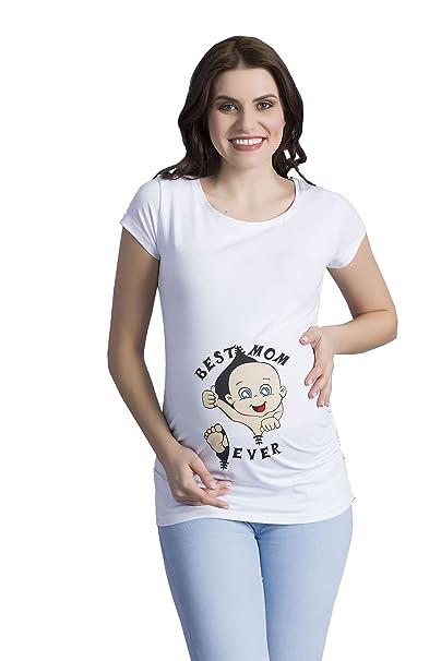 e649a9b6c741 M.M.C. Best Mom Ever - Premaman Abbigliamento Donna Magliette Premaman T-Shirt  Divertente Gravidanza -