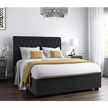 Cool Safina Rolltop King Size Ottoman Bed In Dark Grey Velvet Dailytribune Chair Design For Home Dailytribuneorg