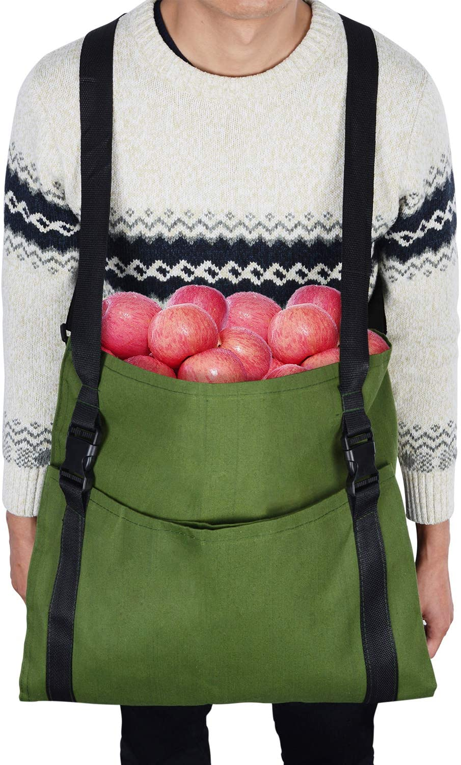 V&H Fruit Picking Bag Vegetable Harvest Apples Berry Garden Picking Bag Garden Apron,Farm Helper, Free Your arm and Hand