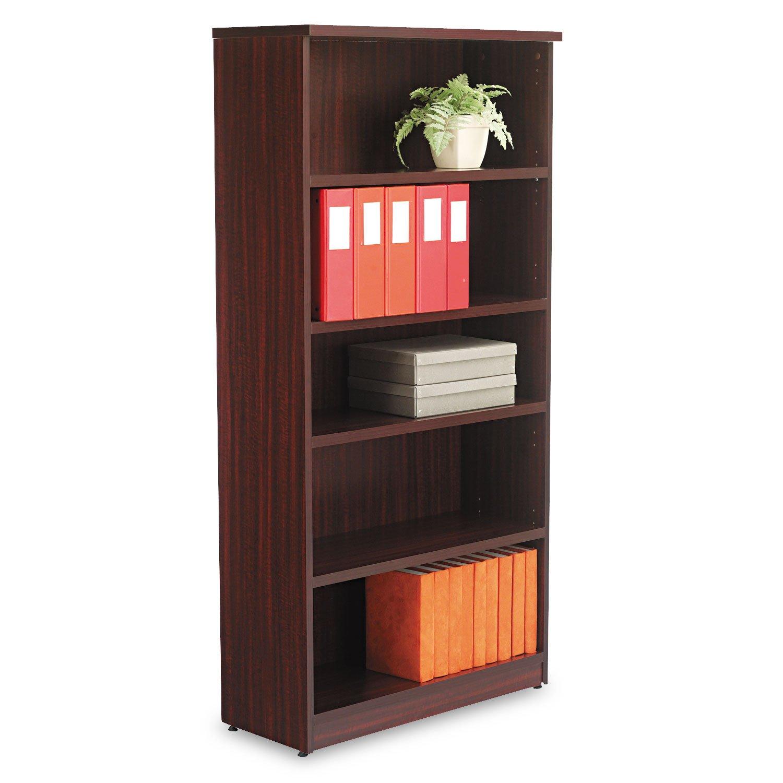 Alera VA636632MY Valencia Bookcase, 5-Shelf, 31-3 4w x 14d x 65h, Mahogany