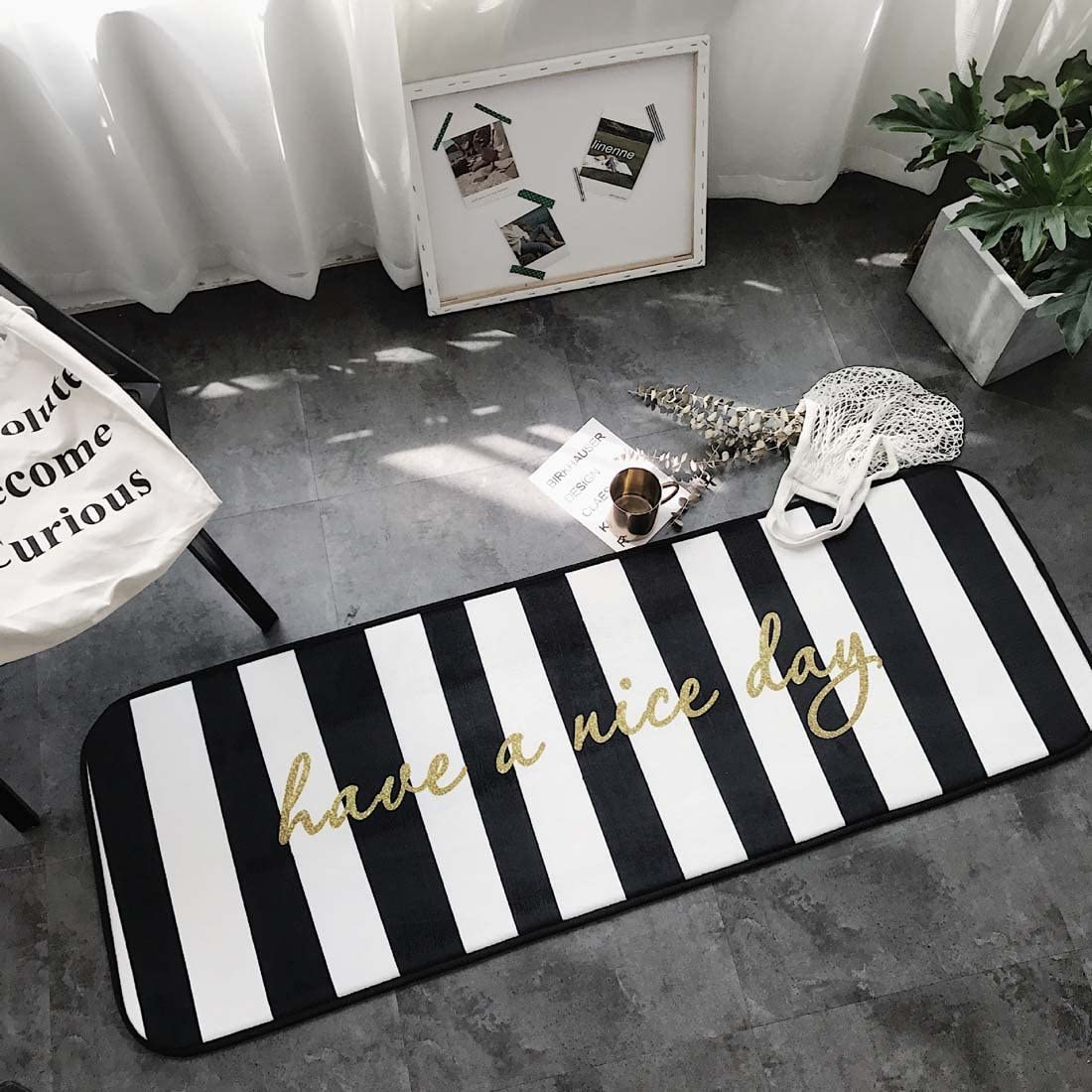 Home and Kitchen Rugs Door Mat Black and White Striped Non Slip/Skip Runner  Decorative Entrance Floor Carpet for Bathroom Bedroom-Have a Nice Day